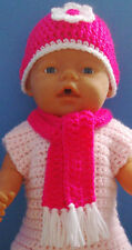 Baby Born dolls clothes - Hand made crochet knitted hat and scarf set