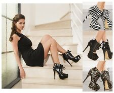 *** LADIES ANKLE SHOES STILETTO HIGH HEEL HIDDEN PLATFORM LACE UP BOOTS BOOTIES
