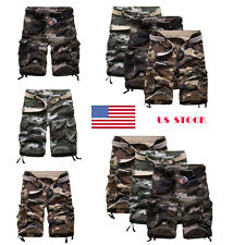 US STOCK ! Mens Camouflage Army Multi Pocket Causal Camo Pants Trousers Shorts