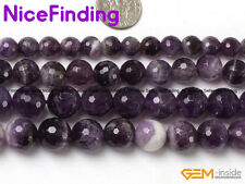 Natural Faceted Purple Amethyst Quartz Crystal Stone Beads Jewelry Making 15""