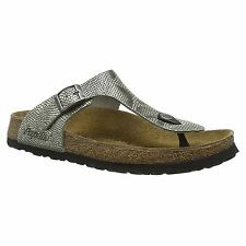 Papillio by Birkenstock Gizeh Grey Phython Womens Embossed Nubuck Thong Sandals