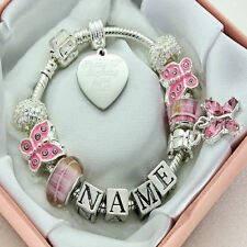 Personalised ENGRAVED Charm Bracelet Pink Beads ANY MESSAGE Jewellery Gift