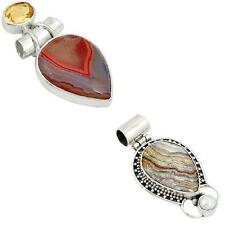 mexican laguna lace agate 925 sterling silver pendant handmade jewelry 9178A