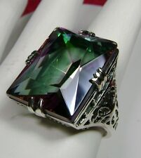 30ct Big Rainbow *Mystic Topaz* Sterling Silver Filigree Ring (Made To Order)