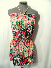 Nwt AVAILABLE Halter Top womens SML Smocked Peplum Beaded Pink Green Chevron HOT