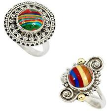 Jewelexi rainbow calsilica 925 sterling silver ring handmade jewelry 1674B