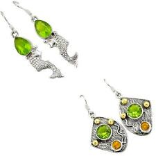 Jewelexi peridot quartz 925 sterling silver earrings handmade jewelry 1857B