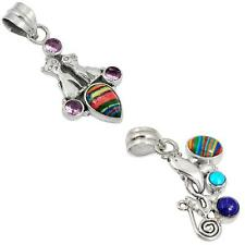 925 sterling silver rainbow calsilica pendant jewelry by jewelexi 2036B