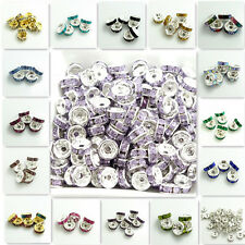 100PCS Resin Rhinestone Silver Rondelle fit Czech Crystal Beads Wholesale 6mm8mm