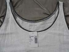NWT $128 EILEEN FISHER Linen Jersey Long Tank Top WHITE Tipped w/ Gray S
