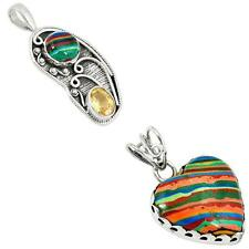 925 sterling silver rainbow calsilica pendant jewelry by jewelexi 3010B