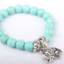Natural Turquoise Stone Bead Tibet Silver Tone Elephant Charm Bracelet Charm