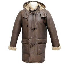 Men's Rufus Brown New Winter Real Shearling Sheepskin Leather Duffle Coat