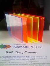 ACRYLIC PERSPEX FLUORESCENT PLASTIC SHEET 5MM THICK BLUE ORANGE YELLOW GREEN RED