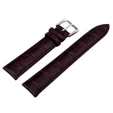 Unisex Brown Genuine Leather Alligator Crocodile Grain Watch Strap Band Men Lady