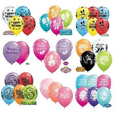 "6 x Character HAPPY BIRTHDAY Latex Balloons 11"" - Assorted Colours {Qualatex}"