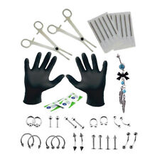 41pcs 18G Steel Body Piercing Kit Needle Belly Tongue Eyebrow Nose Lip Rings