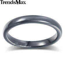3mm Mens Boys Wedding Band Ring Black Tone Tungsten Carbide Brushed US Sz 8-13