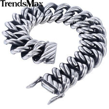 22mm Mens Bracelet Bangle Silver Tone 316L Stainless Steel Curb Cuban Chain