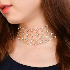 Multilayer Rhinestone Crystal Statement Choker Necklace Chunky Wedding Jewelry