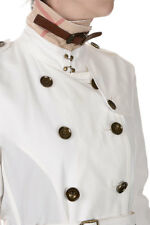 BURBERRY BRIT New Woman White Cotton Blend Trench Coat NWT