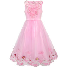 Flower Girls Dress Sequin Dimensional Flowers Pageant Party Age 4-14 Years