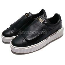 Puma Basket Platform Strap Wns Black Leather Women Fashion Casual Shoes 36412301