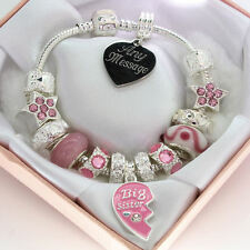 Big Sister Jewellery ENGRAVED Bracelet Pink Beads Personalised Birthday Gift Box