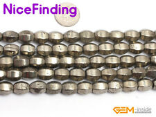"""Natural Faceted Olivary Silver Grey Pyrite Rice Stone Beads Jewelry Making 15"""""""