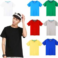 10 Colors Mens Womens Classic Cotton Crew Neck T-shirt Short Sleeve Tops Tee