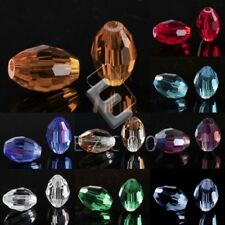 72pcs Rice Crystal Loose Beads Center Drilled Fit Necklace Jewelry Making 6x9mm