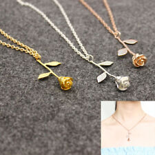 Rose Gold Silver Rose Flower Pendant Delicate Necklace Beauty Charm Jewelry C