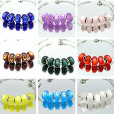 5pcs silver MURANO Cat's eye European Charm beads fit Necklace Bracelet DIY V230