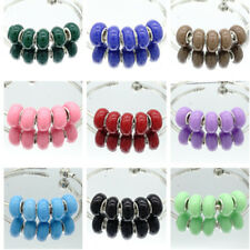 5pcs silver MURANO European Charm beads LAMPWORK fit Necklace Bracelet Chain #2