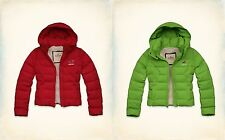 NWT Hollister-Abercrombie Paradise Cove Jacket Coat Sherpa Lined Red XS Green L