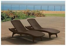2 Pack Keter All-weather Rattan Chaise Lounger Brown/Grey High Quality Resin