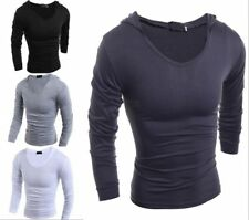 Hot Fashion Mens Casual Cultivate One's Morality Hooded Long-Sleeved T-Shirt New