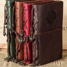 Retro Vintage PU Leather Bound Blank Page Notebook Note Notepad Journal Diary #K