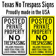 TEXAS Posted Private Property No Trespassing 8X12 Aluminum Sign Made in the USA