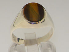 925 Solid Sterling Silver Natural Tigers Eye Mens Gents Signet Ring