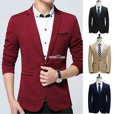 Men Handsome Casual Notched Lapel Long Sleeve Slim Fit One Button Blazer Jacket
