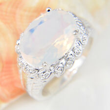 Woman Classical Oval Cut Rainbow Fire Moonstone Silver Flower Ring Size 7 8 9