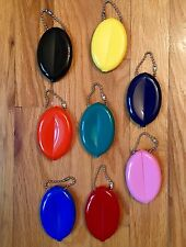 5 RUBBER SQUEEZE OVAL COIN PURSE MENS WOMENS MONEY HOLDER WALLET - Made in USA
