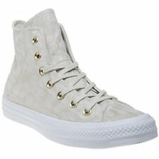 New Womens Converse Natural All Star Hi Leather Trainers Animal Lace Up