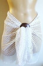 WHITE CROCHET SHORT BEACH SARONG PAREO WRAP WITH FREE COCONUT SHELL BUCKLE