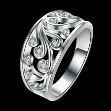 Silver elegant crystal Rings Jewelry  Fashion charms nice Cute women Lady Gift