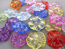 17mm 35/70/100pcs CLEAR ASSORTED COLORS ACRYLIC FLOWER BEAD FF4984