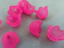 7x10mm 50/100/../500pcs FROSTED VIOLET RED ACRYLIC PLASTIC FLOWER BEADS TY06320