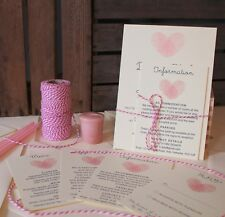 Fingerprint Heart Personalised Wedding Invitations: Day Evening Invites RSVP