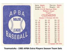 1985 APBA Extra Players Only Season Baseball Set ** Pick Your Team **